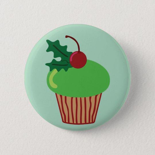Christmas Cupcake Pinback Button
