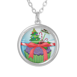Christmas cupcake silver plated necklace