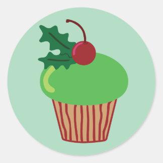 Christmas Cupcake Round Sticker