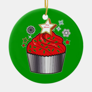 Christmas Cupcake with Star Cookie Christmas Tree Ornaments