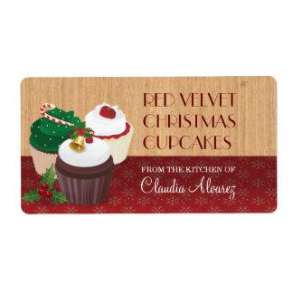 Christmas Cupcakes Baking Shipping Label