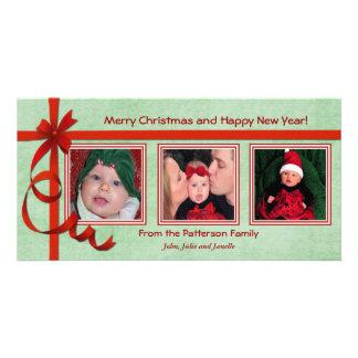 Christmas Curls Triple Treasure Custom Photo Card