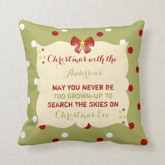 Christmas Cushion / Pillow green & red polka dots