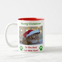 Christmas Custom Best Cat Mom Ever Pet Photo Two-Tone Coffee Mug