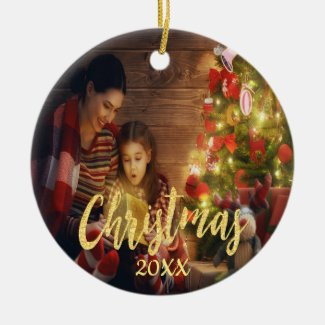 Christmas custom family photo with year ceramic ornament