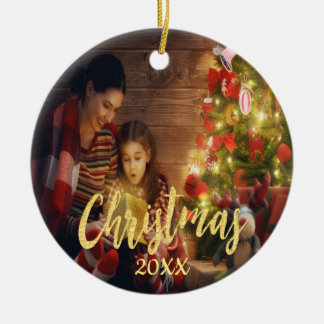 Christmas custom family photo with year gold ceramic ornament