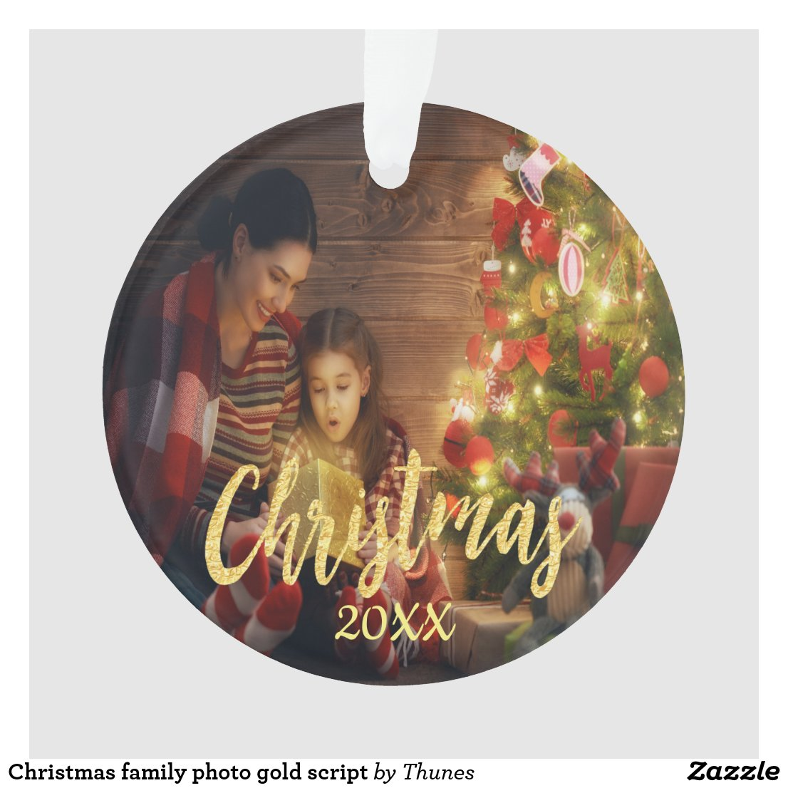 Christmas custom family photo with year ornament