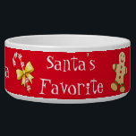 """Christmas Custom Pet Bowl<br><div class=""""desc"""">Festive white ceramic Christmas pet food / water bowl, with graphic Christmas clip art and fun white text reading Santa&#39;s Favorite, against a red background. Personalize the white script text, on the front and sides of the bowl, for your pet or as a great gift idea for any pet owner...</div>"""