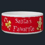 "Christmas Custom Pet Bowl<br><div class=""desc"">Festive white ceramic Christmas pet food / water bowl, with graphic Christmas clip art and fun white text reading Santa"