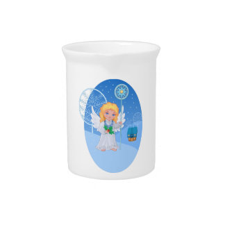 Christmas cute cartoon angel with blue star staff beverage pitcher