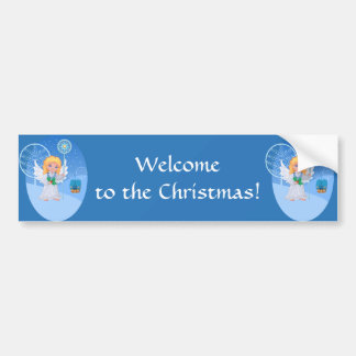 Christmas cute cartoon angel with blue star staff bumper sticker