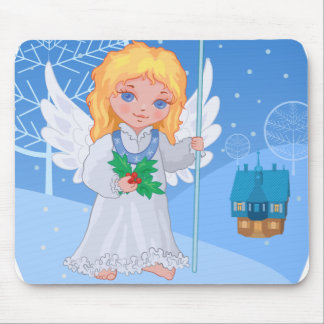 Christmas cute cartoon angel with blue star staff mouse pad
