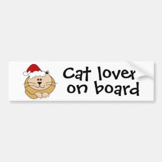 Christmas Cute Cartoon Cat Cat Lover on Board Car Bumper Sticker