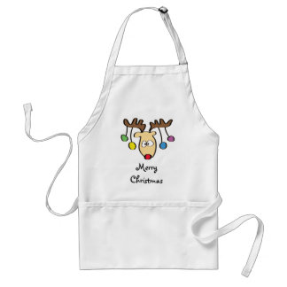 Christmas Cute Cartoon Red Nose Reindeer Adult Apron