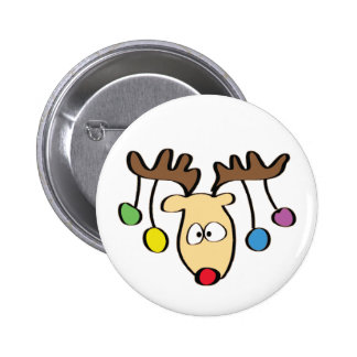 Christmas Cute Cartoon Red Nose Reindeer 2 Inch Round Button