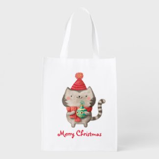 Christmas Cute Cat Grocery Bags