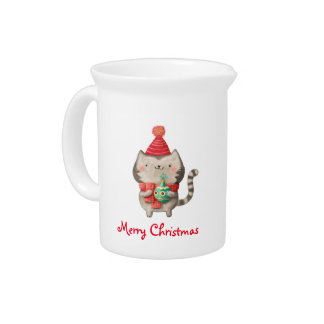 Christmas Cute Cat Pitcher