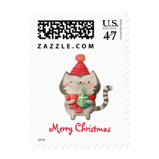 Christmas Cute Cat Postage