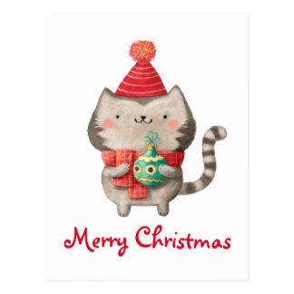 Christmas Cute Cat Postcard
