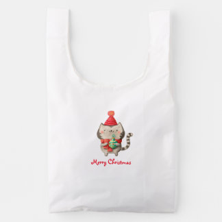 Christmas Cute Cat Reusable Bag
