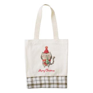 Christmas Cute Cat Zazzle HEART Tote Bag