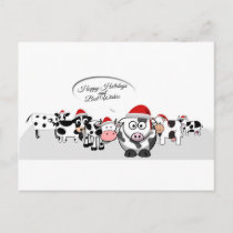 Christmas Cute Cows Happy Holidays Holiday Postcard