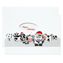 Christmas Cute Cows Happy Holidays Invitation