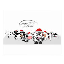 Christmas Cute Cows Happy Holidays Postcard
