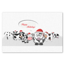 Christmas Cute Cows Happy Holidays Tissue Paper