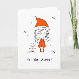 Cute Cartoon Drawings Christmas Cards Zazzle 100 Satisfaction Guaranteed