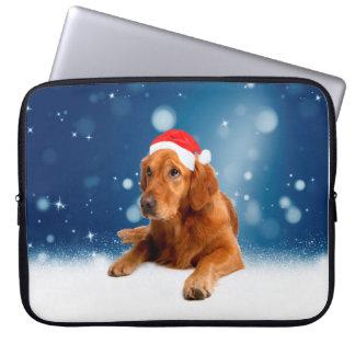 Christmas Cute Golden Retriever Dog Santa Hat Snow Computer Sleeve