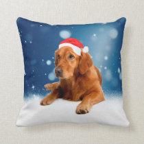 Christmas Cute Golden Retriever Dog Santa Hat Snow Throw Pillow