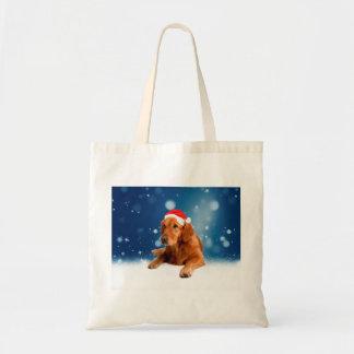 Christmas Cute Golden Retriever Dog Santa Hat Snow Tote Bag