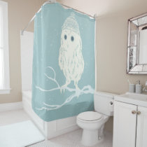 Christmas cute owl on tree branch - Xmas Shower Curtain