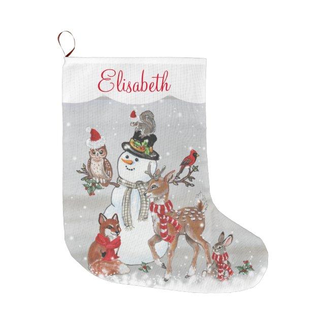 Christmas Cute Reindeer Woodland Animal Snowman Large Christmas Stocking