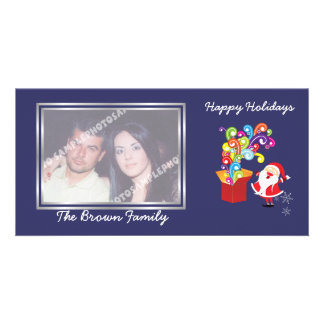 Christmas cute Santa Claus and gift box photo card