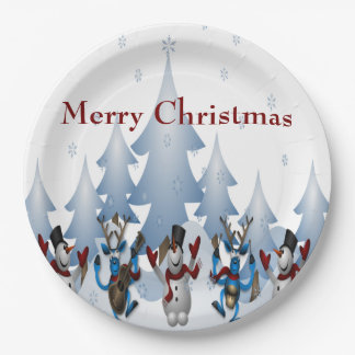 Christmas Cute Snowman and Reindeer Band Paper Plate