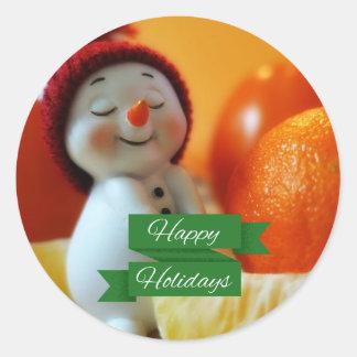 Christmas Cute Snowman Classic Round Sticker