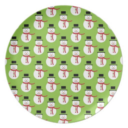 christmas cute snowman  image pattern background party plates