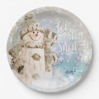 Christmas Cute Snowman with Snowflakes Paper Plate
