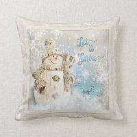 Christmas Cute Snowman with Snowflakes Throw Pillow