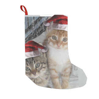 Christmas cute tabby cats small christmas stocking