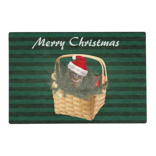 Christmas Cute Trendy Cat In The Basket Placemat Zazzle