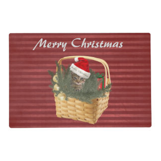 Christmas cute trendy cat in the basket placemat