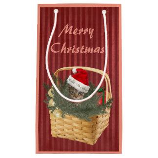 Christmas cute trendy cat in the basket small gift bag