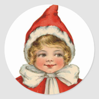 Christmas Cute Vintage Elf Girl Classic Round Sticker