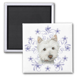 Christmas Cute Westie Dog Art and Snow flake 2 Inch Square Magnet