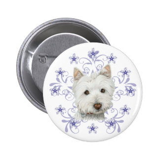 Christmas Cute Westie Dog Art and Snow flake Pins