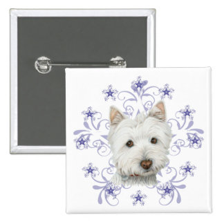 Christmas Cute Westie Dog Art and Snow flake Button