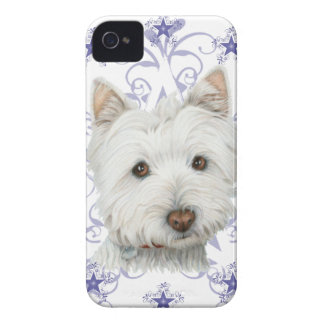 Christmas Cute Westie Dog Art and Snow flake iPhone 4 Cases